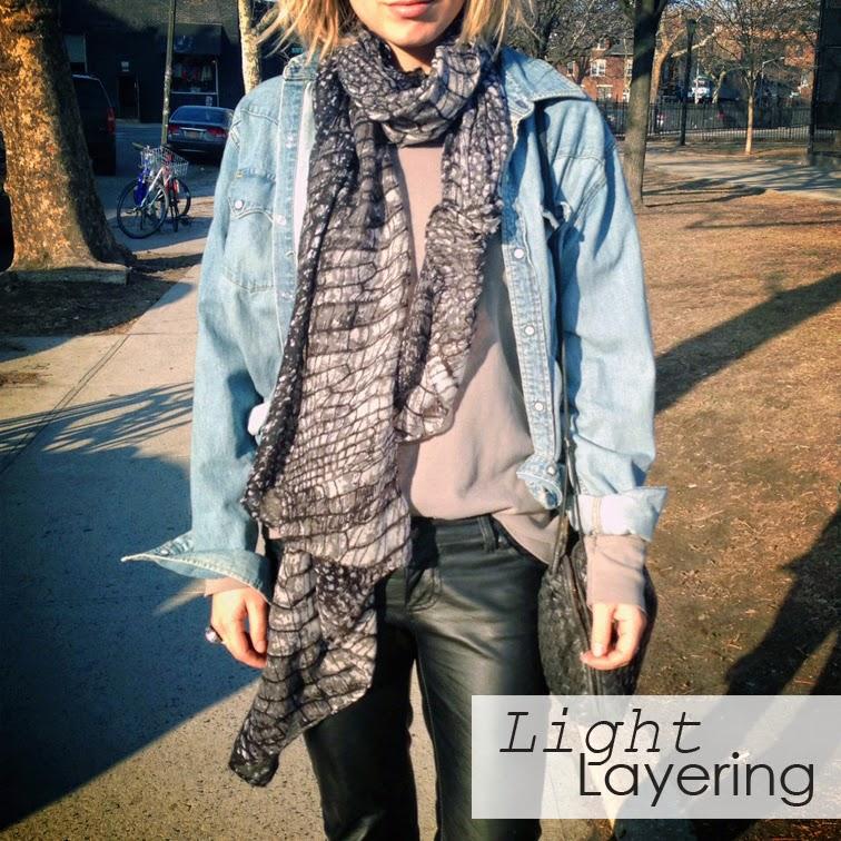 Light layering, leather pants, denim shirt, Levi's, Subtle Luxury + Spun scarves, reptile print