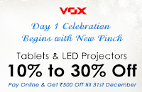 (Last Day) Homeshop18 Day One Christmas Offer :Vox Tablet And LED Projectors 10% to 30% Off : BuyToEarn