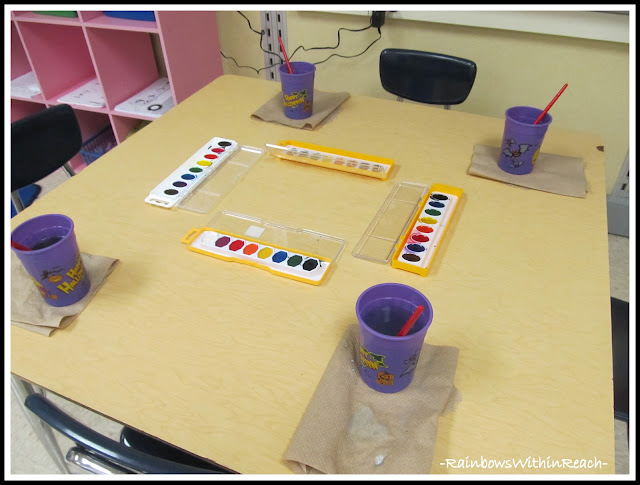 photo of: Water Color Paint Station at School: Fine Motor Leads to Fine Arts