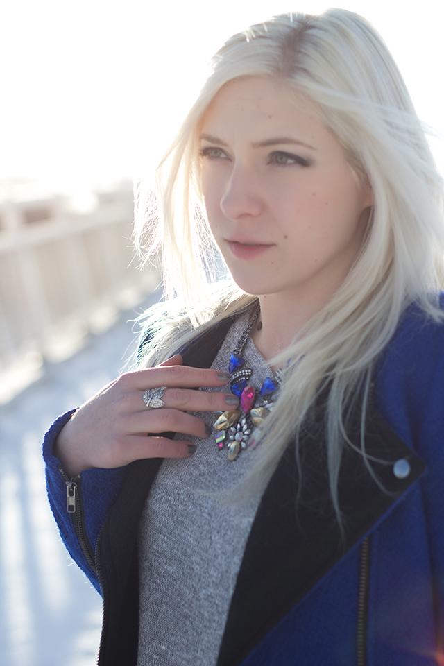Jennifer Ashley wearing Royal blue jacket (Forever 21) & colorful art deco necklace.