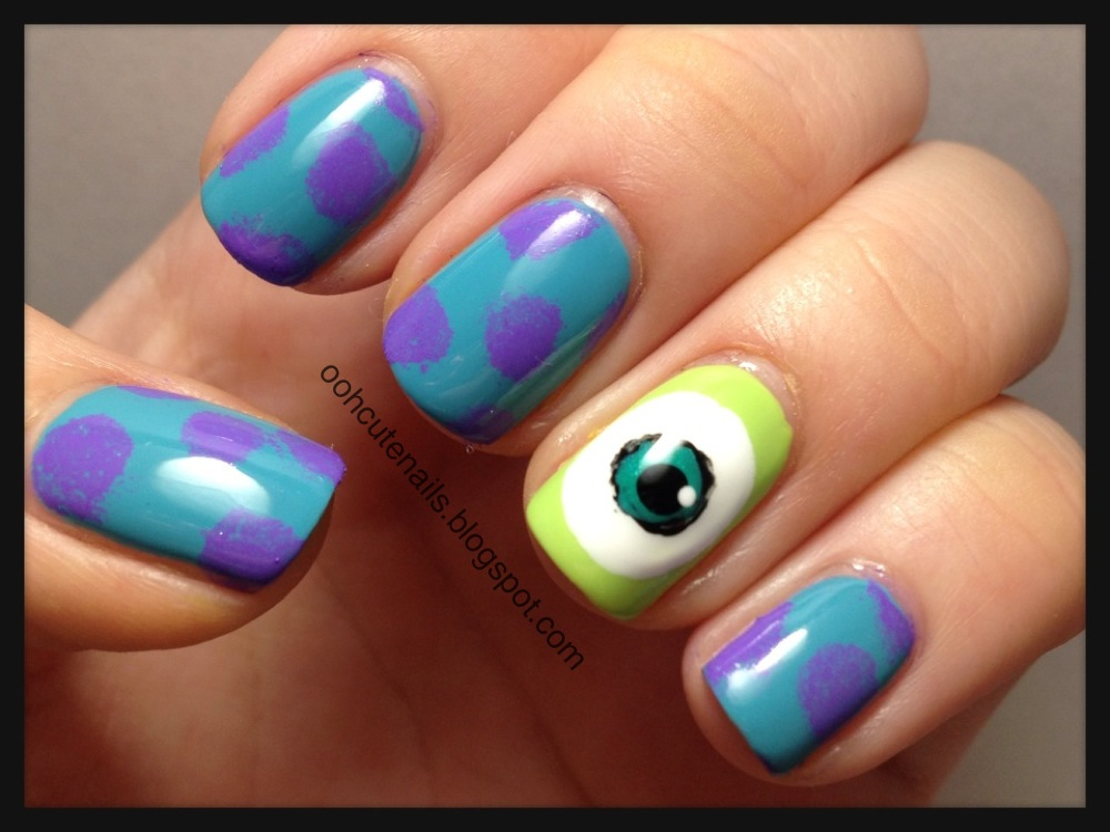 Character Design Nails : Ooh cute nails monsters university inspired