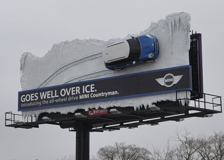 The New MINI Countryman 3D Billboard Goes Well Over Ice | AdStasher