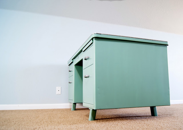 Vintage Metal Tanker desk makeover in Krylon Jade