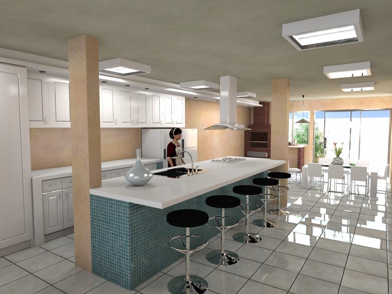 Projetos & Desenhos: Estudo Cozinha Espaço Gourmet e Sala #81674A 1280 960
