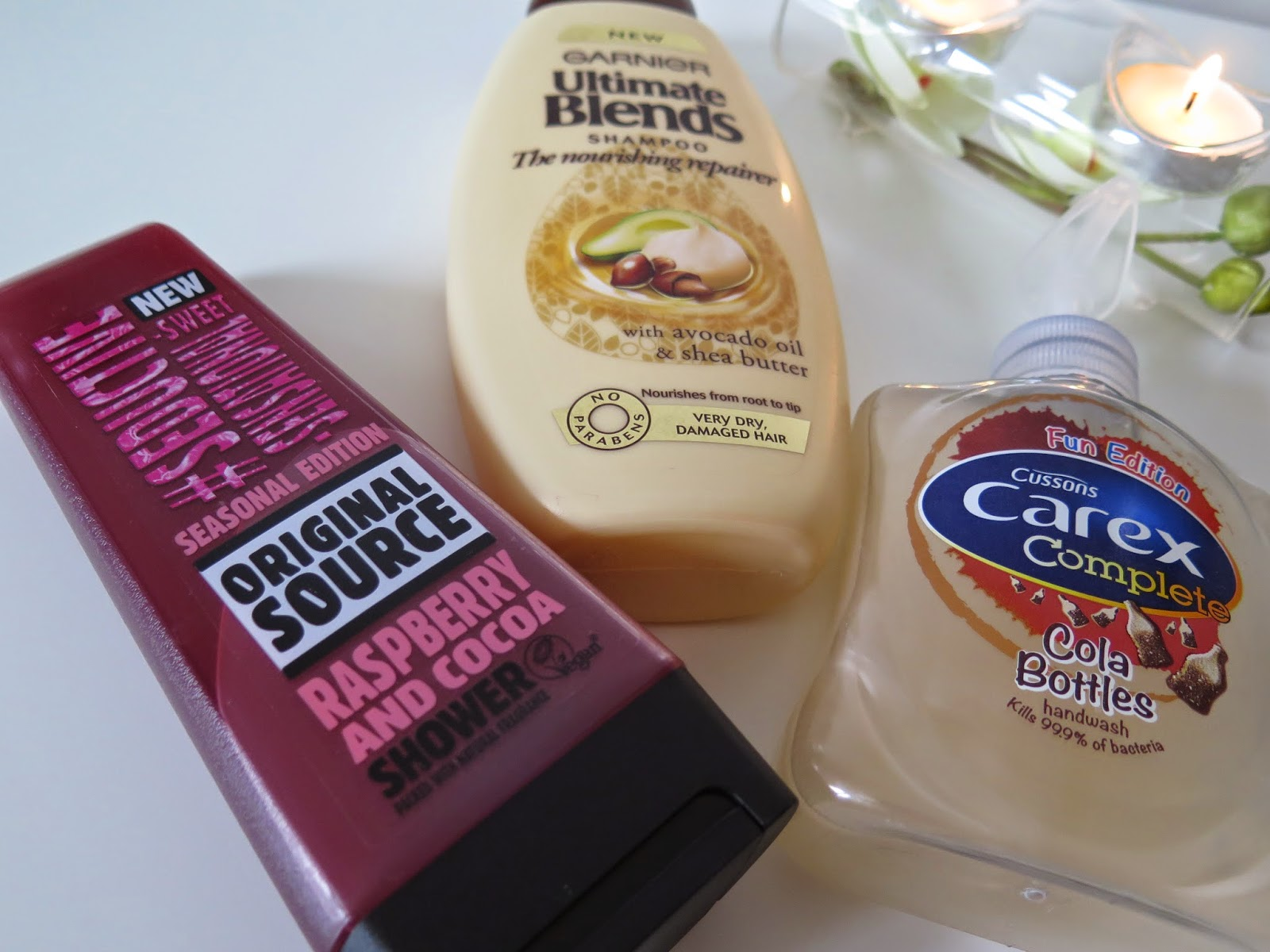 Garnier Ultimate blends, original source raspberry and cocoa, carex cola bottles
