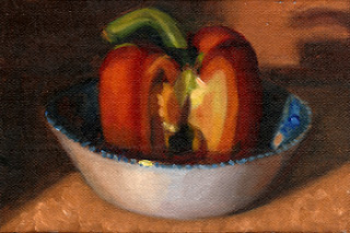 Oil painting of blue and white porcelain bowl containing a red pepper with a quarter removed.