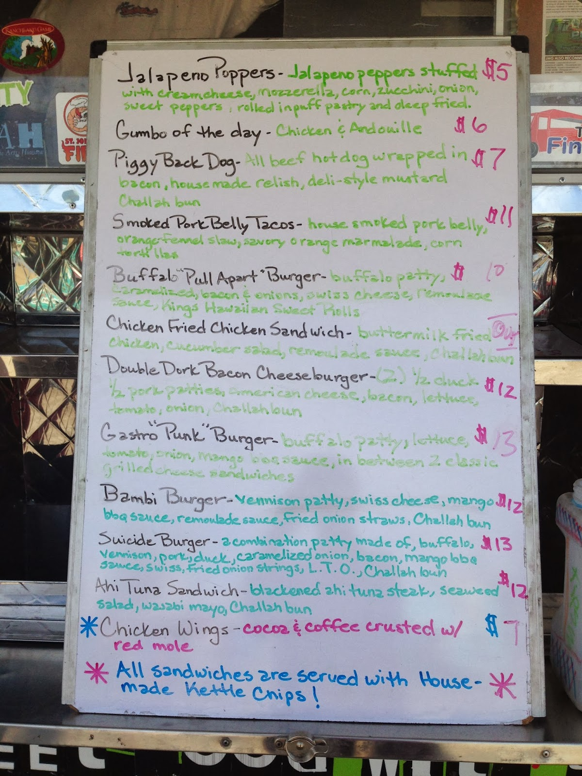 Gastro Punk Food Truck, Houston, TX - Menu