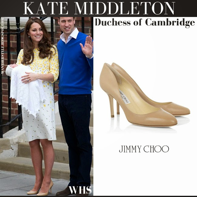 Kate Middleton Duchess of Cambridge in yellow white floral print silk shift dress jenny packham and beige pumps jimmy choo gilbert outside the lindo wing after giving birth with her newborn daughter may 2 2015 what she wore who made it