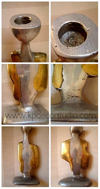 candelabros vintage de bronce y laton con forma de escultura