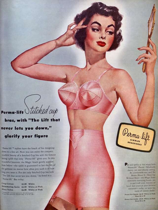 1950s pink full color bullet bra and girdle advertisement