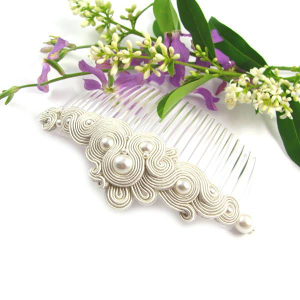 Ślubna spinka do włosów sutasz z perłami
