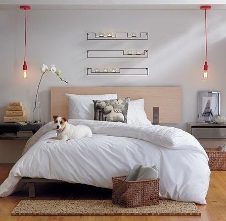 Red hanging bedside lights