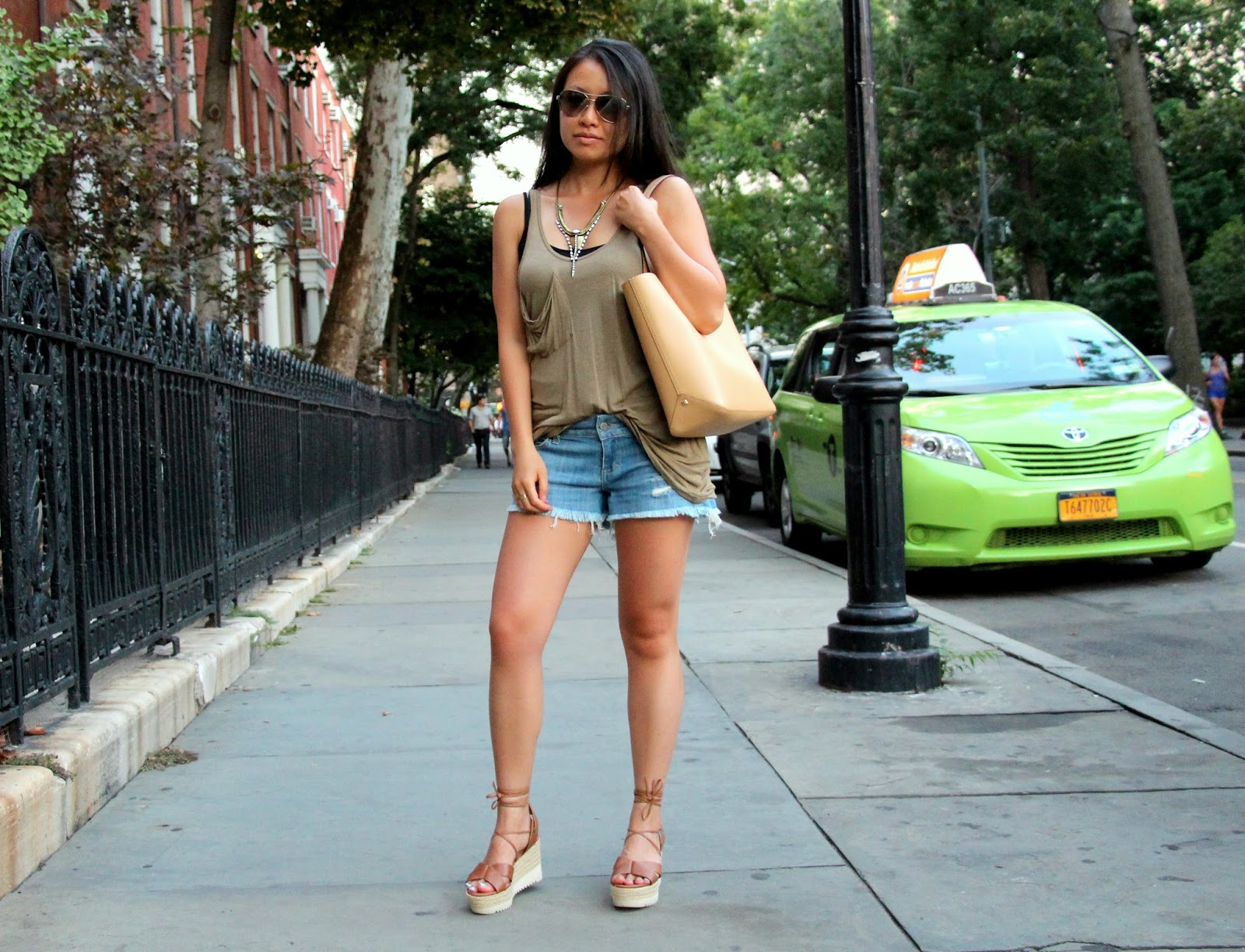summer shorts outfit Siwy camilla denim cutoffs Aldo Joella wedge sandals Rebecca minkoff mini dylan tote Lionette Dylan necklace