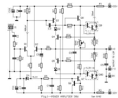 30w power audio amplifier circuit diagram