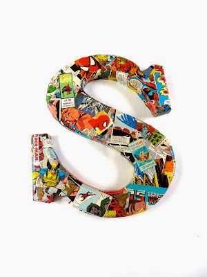 comic book wooden letters