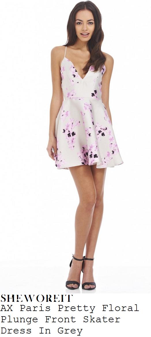 vicky-pattison-cream-grey-pink-purple-sleeveless-floral-print-skater-dress