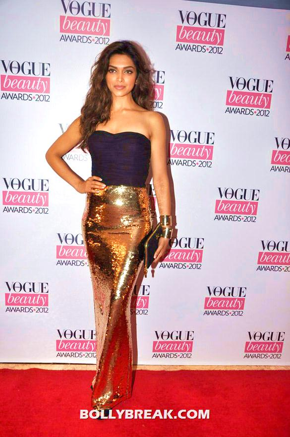 Deepika Padukone in a gorgeous black and gold strapless dress - Deepika, Nargis Fakhri and others @'Vogue Beauty Awards 2012'