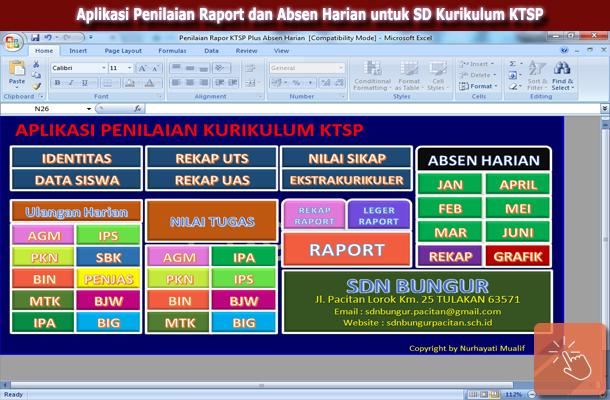 Download Gratis Aplikasi Penilaian Raport KTSP dan Absen Harian.xls