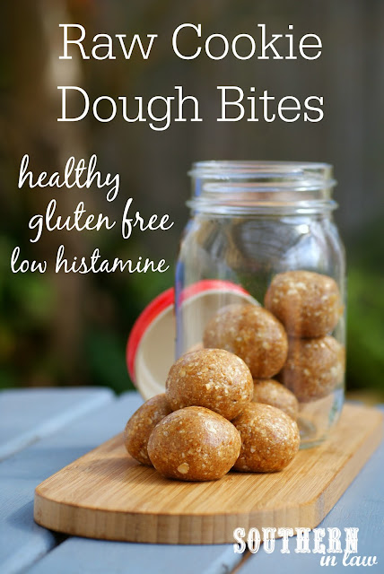 Healthy Raw Cookie Dough Bites Recipe - low fat, gluten free, refined sugar free, clean eating friendly, vegan, dairy free, healthy, low histamine, dessert and snack recipes for histamine intolerance