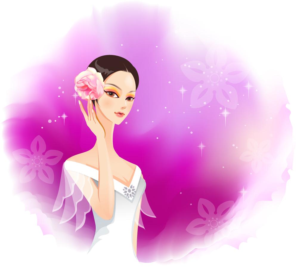 美女と花ビラのフレーム beauty classic flower borders イラスト素材20