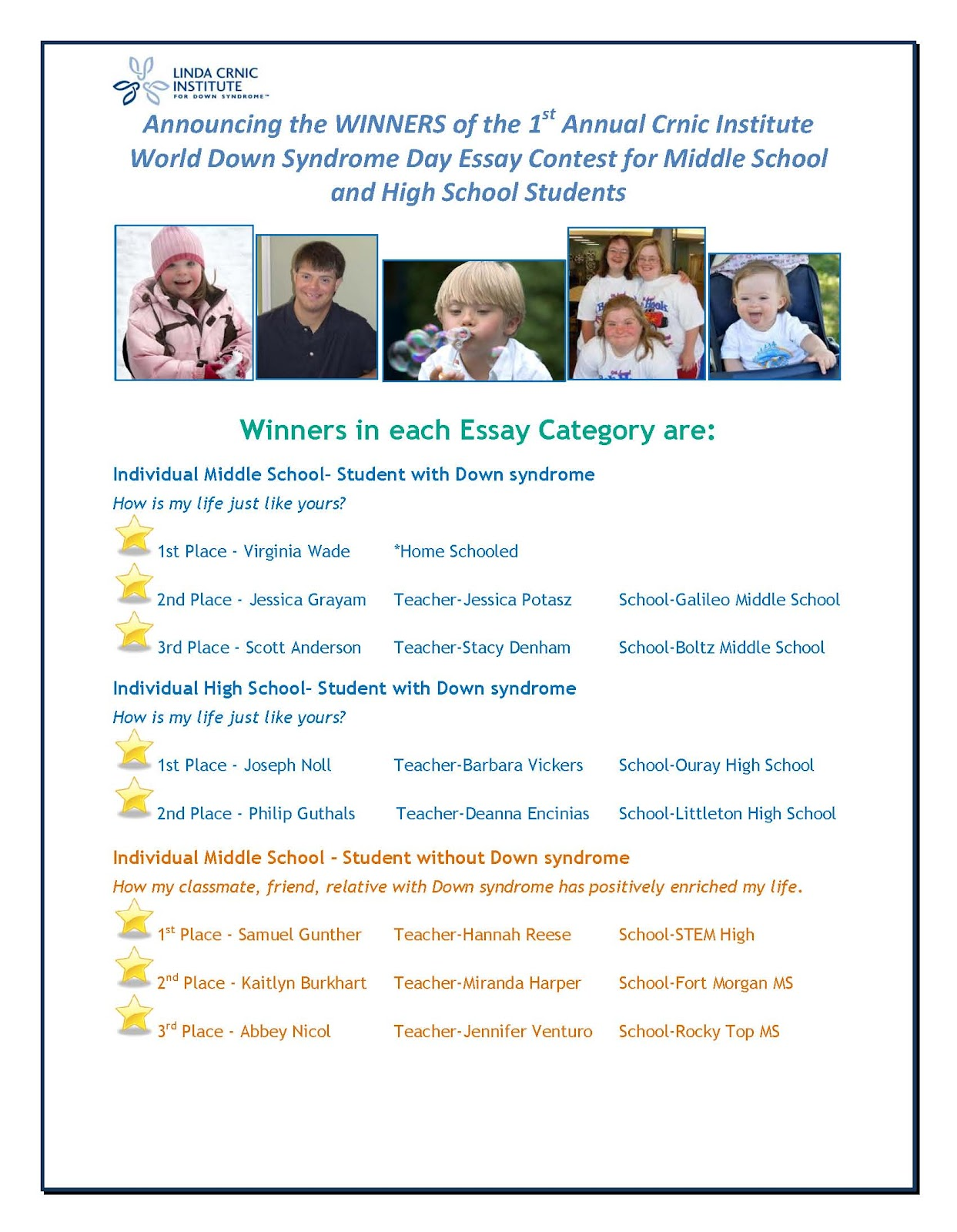 global down syndrome foundation first annual crnic institute world down syndrome day essay contest for middle school and high school students winners
