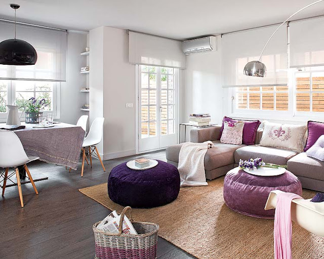 Comodoos interiores tu blog de decoracion una vivienda - Salon gris y morado ...