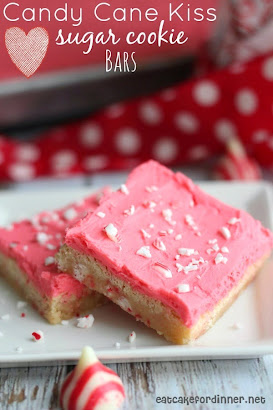Candy Cane Kiss Sugar Cookie Bars