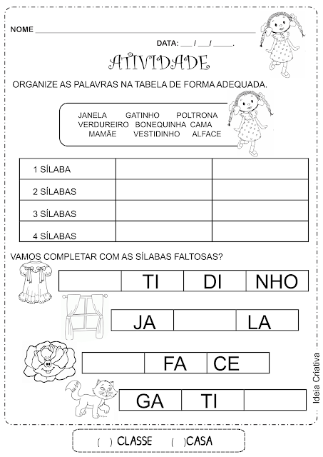 Prova de português 1 ano alfabetização