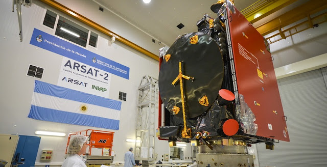 ARSAT-2 satellite being readied for the VA226 mission. Photo Credit: INVAP