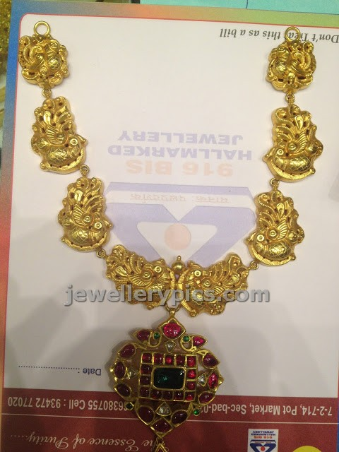 nakshi work gold necklace