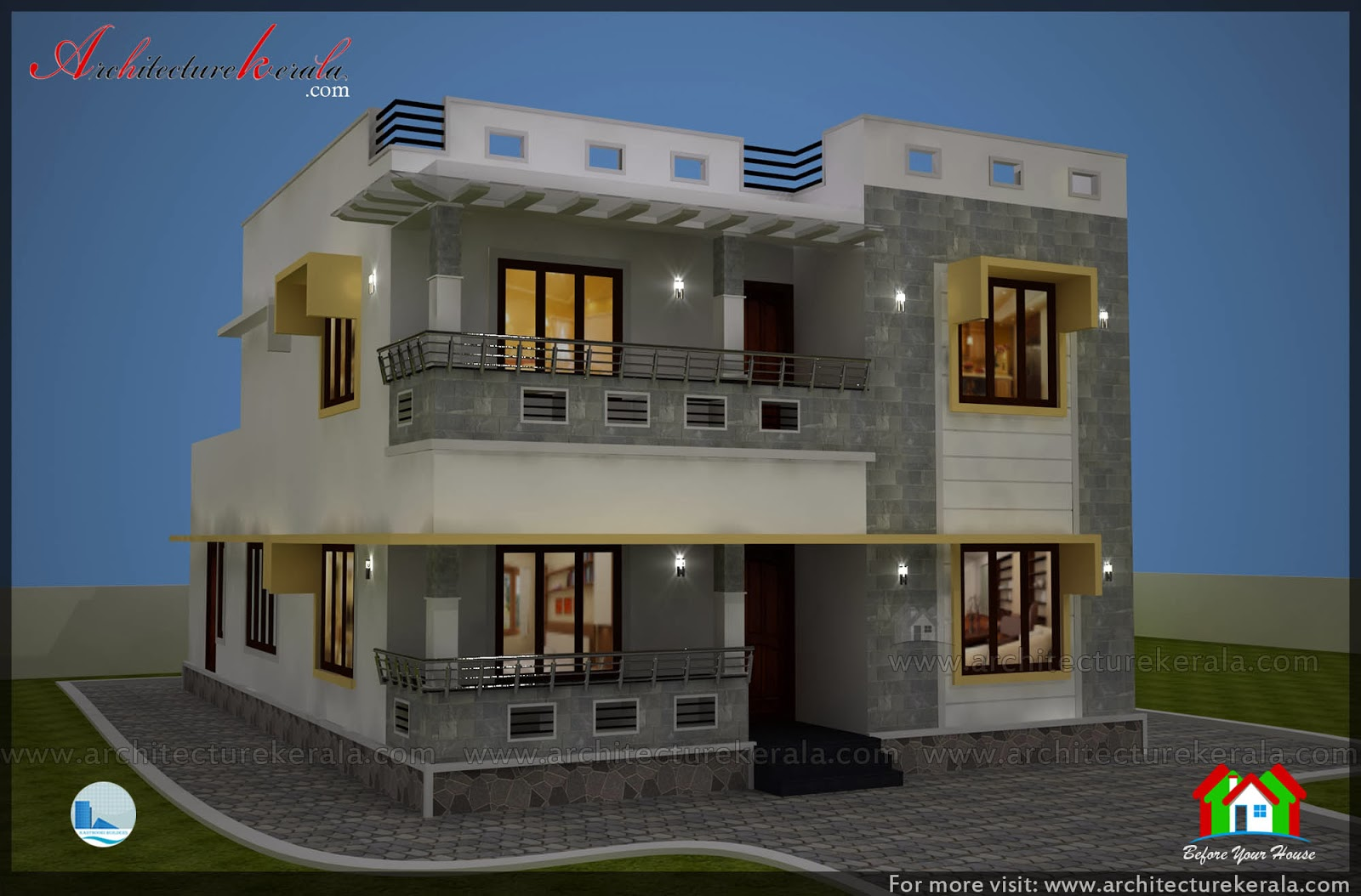 Simple elevation house plan in below 2500 sq ft for Kerala building elevation
