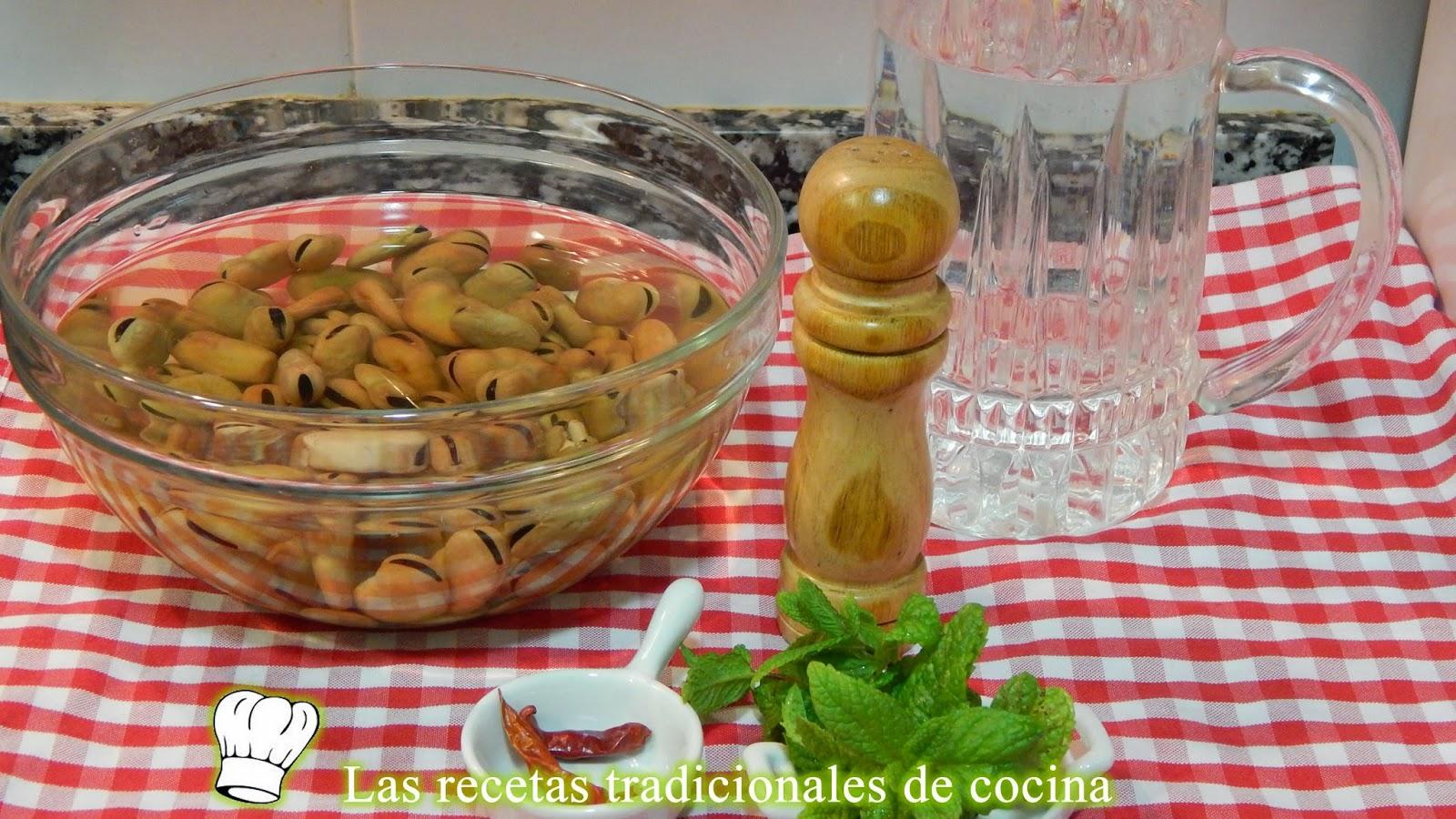 Receta fácil de habas cocidas con hierbabuena
