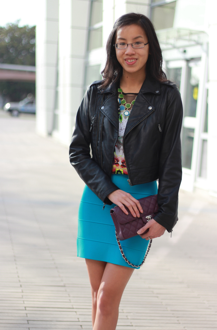 leather jacket color blocking