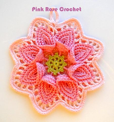 Pink Rose Crochet Pega Panelas Flor Calla Lily Pot Holders