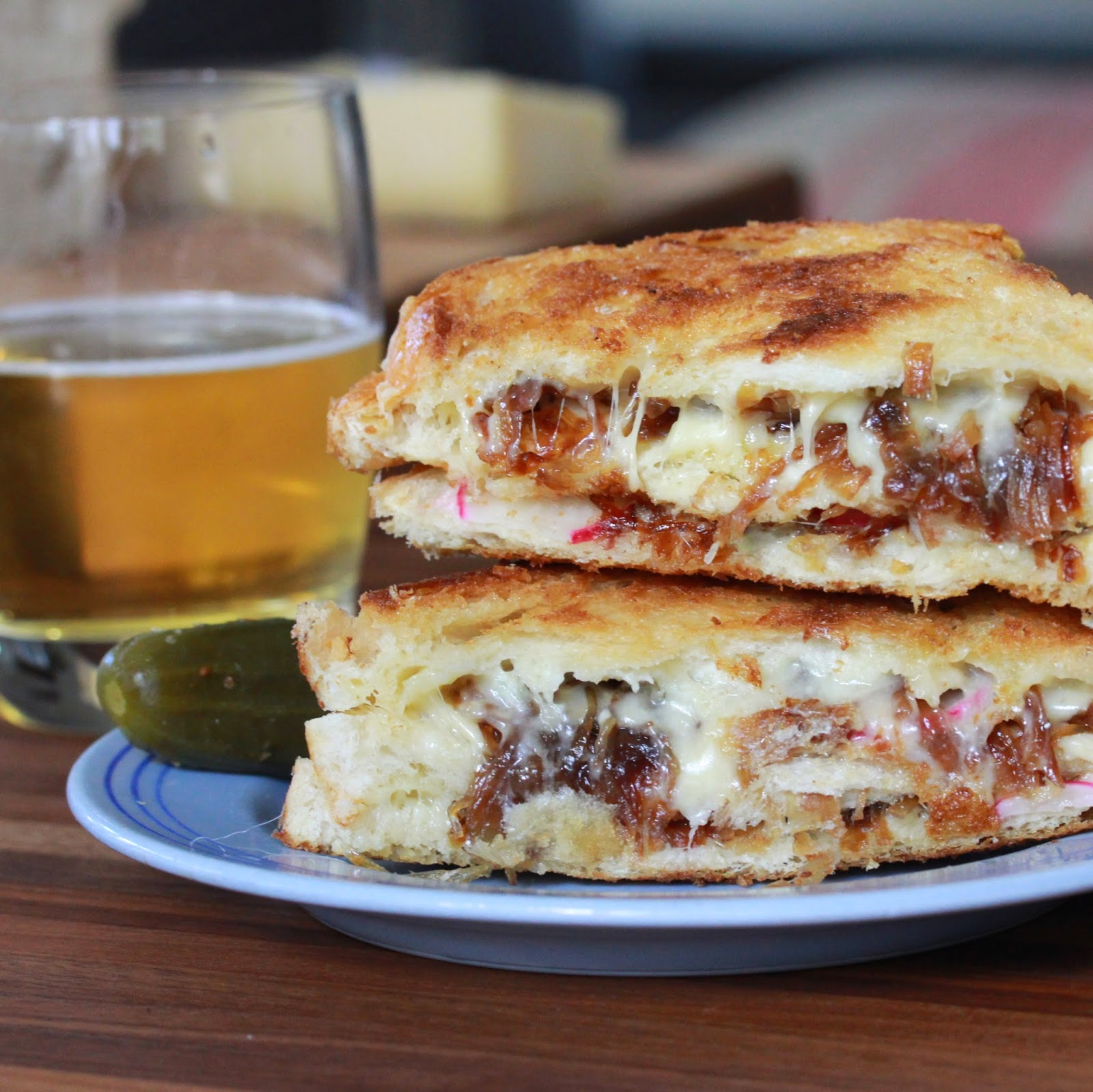Triple Decker French Onion Grilled Cheese