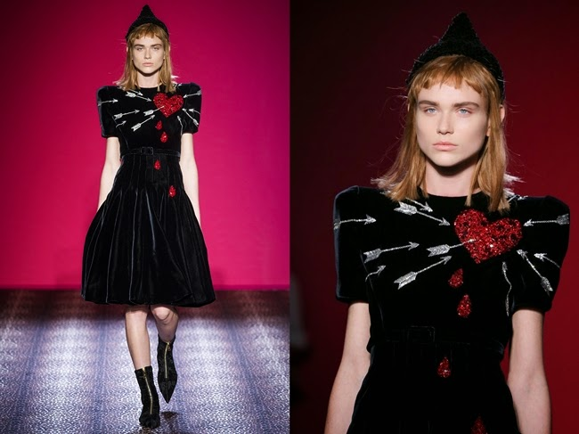 Schiaparelli Fall 2014 Couture Black Velvet Dress With Sequined & Beaded Red Heart Detail With Arrows