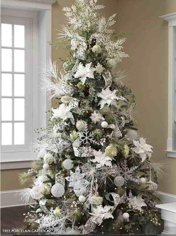 Decora o de natal como decorar rvore de natal decor - Sapin de noel blanc et argent ...