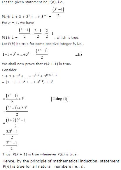 1 + 3 + 32 + ... + 3n – 1 = (3n-1)/2