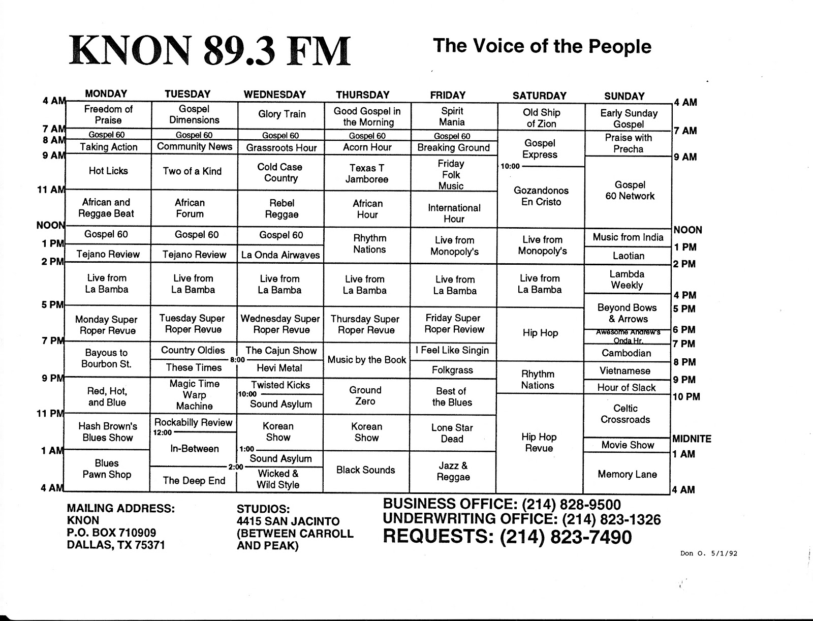 The History of KNON 89.3 FM in Dallas, Texas: KNON voted Best ...
