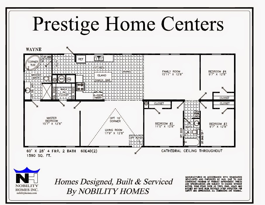 Wayne on display 4 bedrooms and den 2 baths prestige for 4 bedroom 2 5 bath ranch house plans
