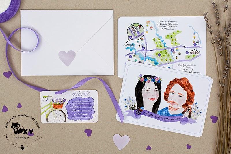 invitatii nunta personalizate, invitatii nunta pictate, invitatii nunta levantica, invitatii personalizate