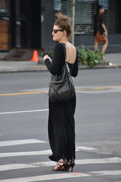 BLACK MAXI DRESS BLACK HIGH HEELS BLACK PURSE RAY BAN SUNGLASSES NYC STREET STYLE