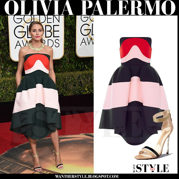 Olivia Palermo in colorblock midi strapless dress delpozo red carpet golden globes what she wore