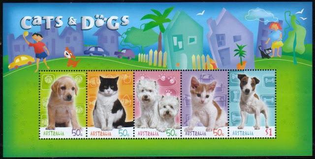2004年オーストラリア ラブラドール・レトリーバー ウエストハイランド・ホワイト・テリア ジャック・ラッセル・テリアの子犬と子猫の切手シート
