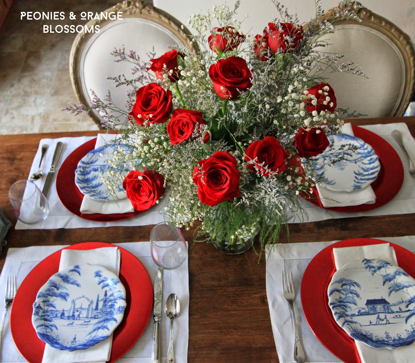 Peonies and orange blossoms patriotic table decorations for Decoration day