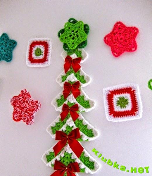 Arbol de navidad tejido al crochet con grannys con paso a - Manualidades de ganchillo para navidad ...