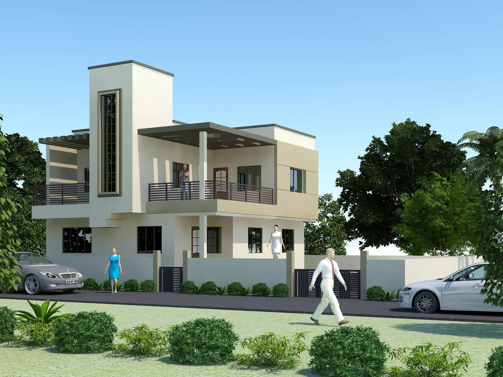 Modern homes exterior designs front views pictures for Modern house front design