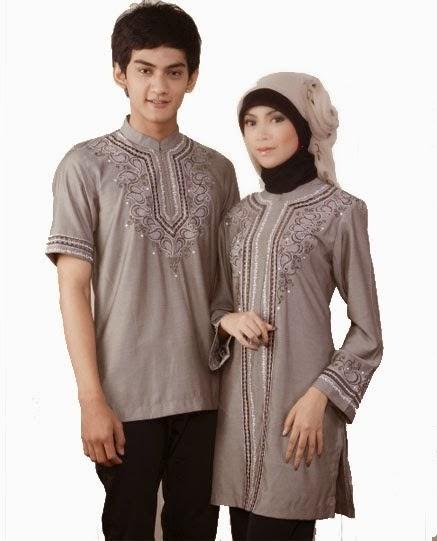 Foto model baju gamis coupel batik modern terbaru yang elegan
