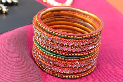 Laakh mirror work bangles Indian Jewellery Perkymegs