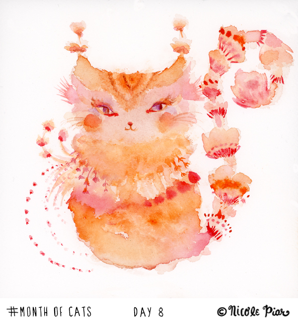 watercolor painting of a magical orange cat by Nicole Piar #MonthofCats